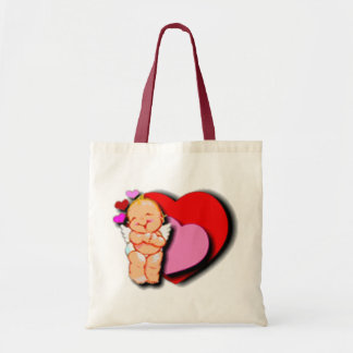 Cute Baby Cupid With Hearts Tote Bag