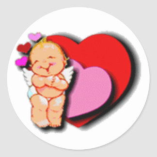 Cute Baby Cupid With Hearts Classic Round Sticker