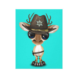 Cute Baby Deer Sheriff Canvas Print