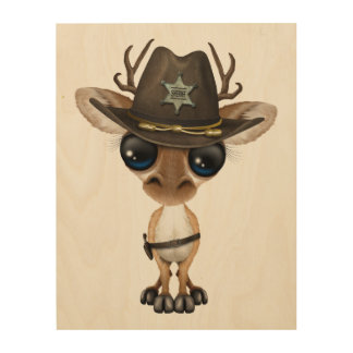 Cute Baby Deer Sheriff Wood Prints