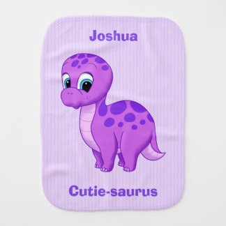 Cute Baby Dinosaur Cutie-saurus Purple Burp Cloth