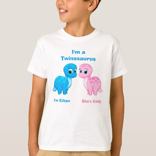 Cute Baby Dinosaur Fraternal Twins Personalised T-Shirt