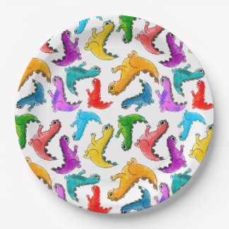 Cute baby dinosaurs doodle picture paper plate