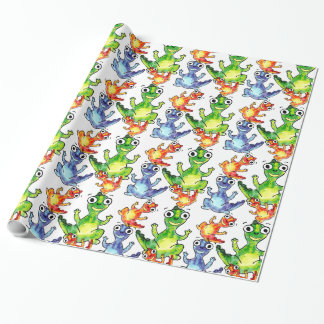 Cute baby dinosaurs doodle picture wrapping paper