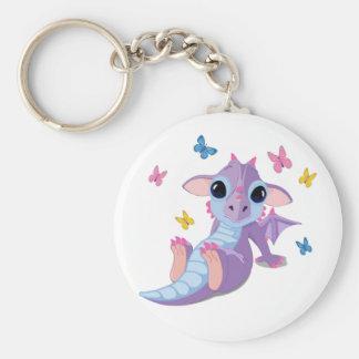 Cute Baby Dragon Basic Round Button Key Ring