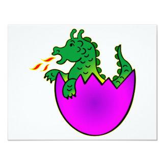 "Cute Baby Dragon In Egg 4.25"" X 5.5"" Invitation Card"