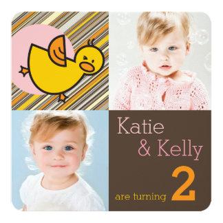 Cute Baby Ducks Twins Girls Birthday Photo Invite