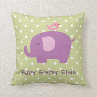 Cute Baby Elephant and Bird Personalized Pillow Throw Cushion