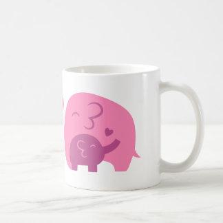 Cute Baby Elephant and Mommy Parents Love Basic White Mug