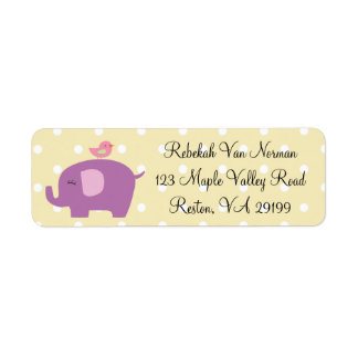 Cute baby elephant bird polka dot address labels