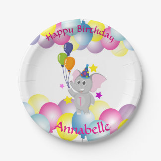Cute baby elephant Birthday party Paper Plate