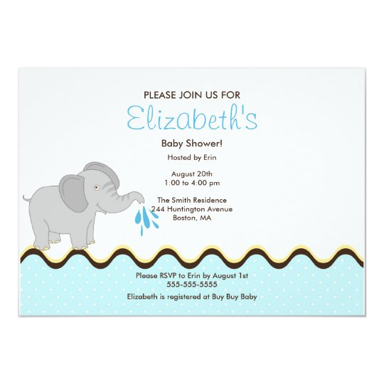 Cute Baby Elephant Boy Baby Shower Invitation