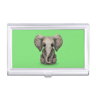 Cute Baby Elephant Calf Sitting Down, Green Business Card Holder