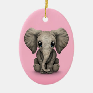 Cute Baby Elephant Calf Sitting Down, Pink Christmas Ornament