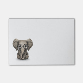 Cute Baby Elephant Calf with Reading Glasses Post-it Notes