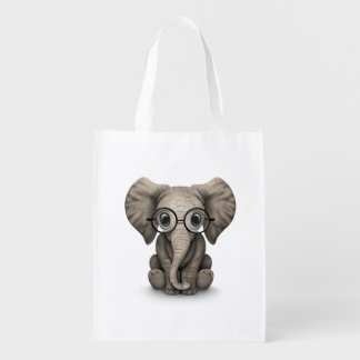 Cute Baby Elephant Calf with Reading Glasses Reusable Grocery Bag