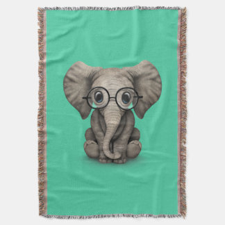 Cute Baby Elephant Calf with Reading Glasses Throw Blanket