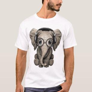 86d892ea1 Cute Baby Elephant Dj Wearing Headphones and Glass T-Shirt