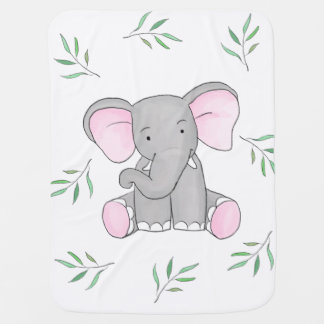 Cute Baby Elephant Forest Leaves Baby Blanket