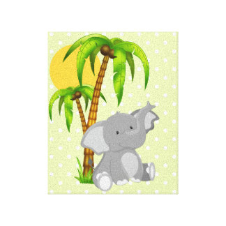 Cute Baby Elephant Green Polka Dots Canvas Prints