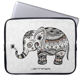 Cute Baby Elephant In black And Brown Diamonds Laptop Sleeve