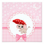 Cute Baby Elephant Pink Baby Sprinkle Shower Personalized Announcement