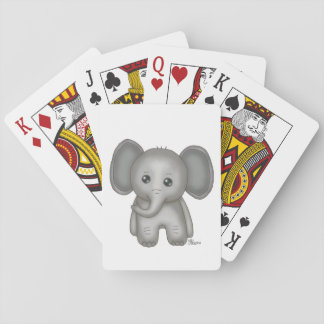 Cute Baby Elephant Playing Cards