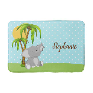 Cute Baby Elephant Polka Dots Bath Mat
