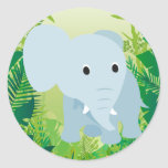 Cute Baby Elephant Round Sticker