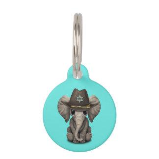 Cute Baby Elephant Sheriff Pet Tag