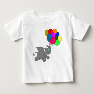 Cute Baby Elephant with Balloons Baby T-Shirt