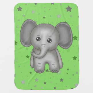 Cute baby Elephant with Green Star background Pram blanket