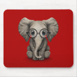 Cute Baby Elephant with Reading Glasses Red Mouse Pad