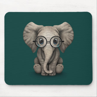 Cute Baby Elephant with Reading Glasses Teal Mouse Mat