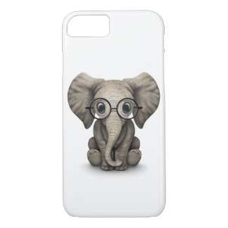 Cute Baby Elephant with Reading Glasses White iPhone 7 Case