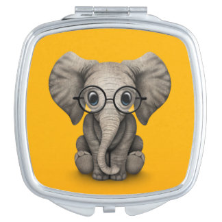 Cute Baby Elephant with Reading Glasses Yellow Vanity Mirror