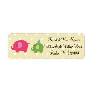 Cute baby elephants bird polka dot address labels