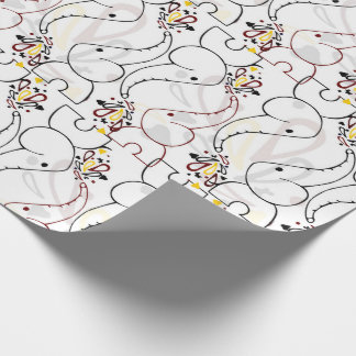 Cute baby elephants design wrapping paper