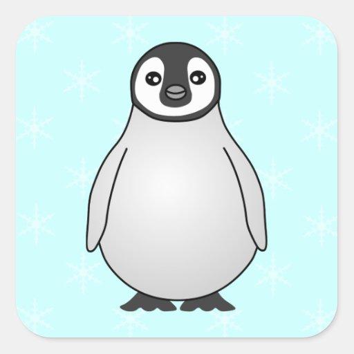 Cute Baby Emperor Penguin Cartoon Square Stickers | Zazzle
