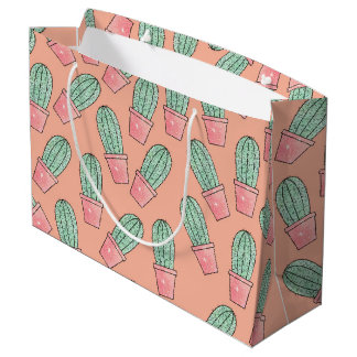 Cute Baby Faux Sparkly Cactus on Coral Pink Large Gift Bag