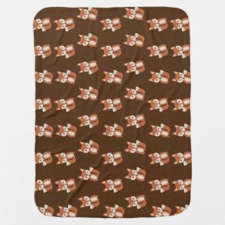 Cute Baby Fox Animal Print Pattern Baby Blanket