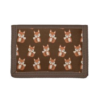 Cute Baby Fox Animal Print Pattern Trifold Wallets