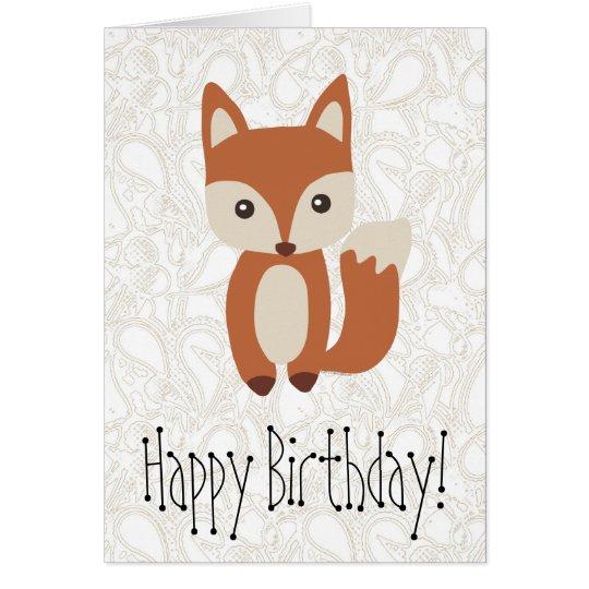 Cute Baby Fox Birthday Greeting Card
