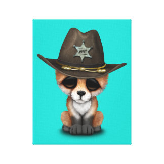 Cute Baby Fox Cub Sheriff Canvas Print