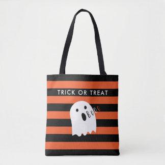 Cute Baby Ghost Boo Halloween Stripe Tote Bag