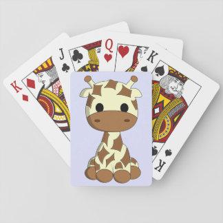 Cute baby giraffe cartoon kids playing cards