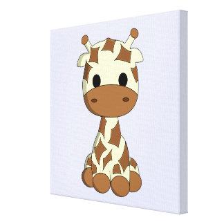 Cute baby giraffe cartoon kids wrapped canvas