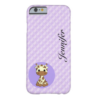 Cute baby giraffe kawaii cartoon name girls barely there iPhone 6 case