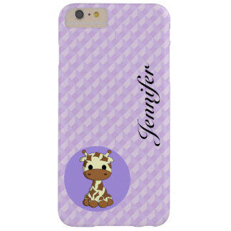 Cute baby giraffe kawaii cartoon name girls barely there iPhone 6 plus case