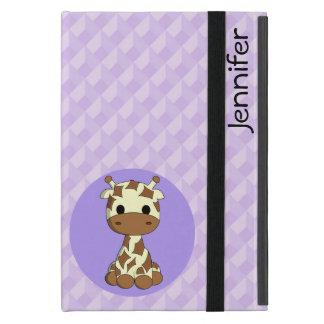 Cute baby giraffe kawaii cartoon name girls cover for iPad mini